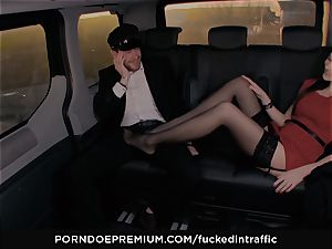pounded IN TRAFFIC - Footjob and car intercourse with Tina Kay