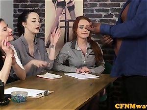 casting CFNM woman agent wanking black wood