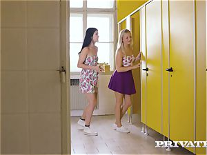 Private.com - girly-girl threeway in the wc