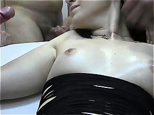 3 Spanish unexperienced ladies gulp loads of cum