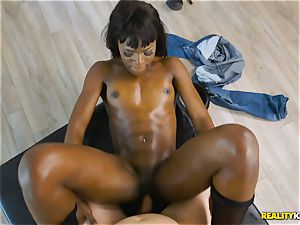 mischievous ebony hotty Ana Foxxx arrives as a cop and inserts the dick of Jessie in her minge