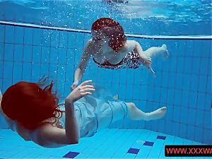 thick boobed furry and tattoed teenagers in the pool