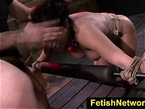 FetishNetwork Becca Diamond gags on spear