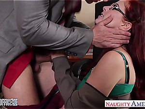 red-haired ultra-cutie in glasses Penny Pax screw in the office