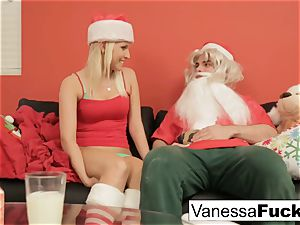 Vanessa letting Santa poke her tight wet pussy