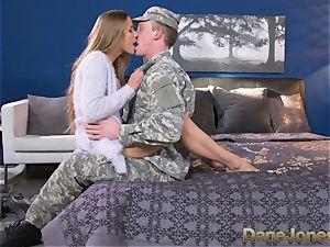 Dane Jones hard fellating and pulverizing messy Army wifey