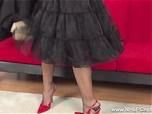 buxomy dark haired jerks in sheer RHT nylons crimson high-heeled slippers