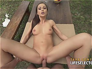 incredibly fit brown-haired bombshell likes to get horny in public