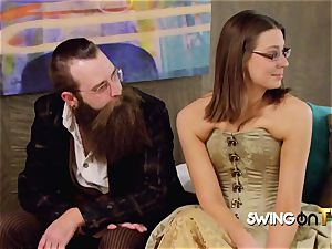 Bearded hubby gobbles his wifey s slit before date other swingers