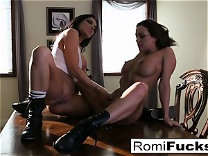 two steaming lesbians smoke while toying with each other