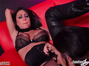 Jessica Jaymes penetrated by Alison Tyler using a belt dick