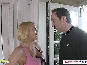 towheaded cutie Krissy Lynn gets her taut slit wedged