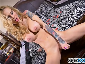 tatted thin towheaded Sarah Jessie messes with her gash