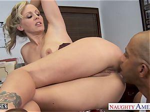 light-haired teacher Julia Ann ravaging a big black cock