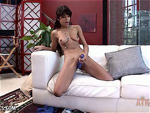 Verta enjoys to masturbate her dark-hued twat