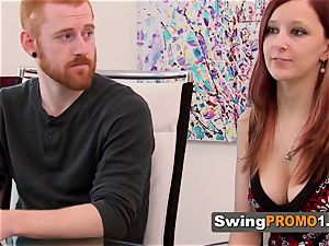 Ginger duo foreplays with other mischievous swingers upon their arrival