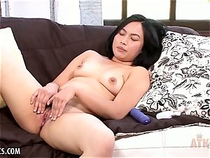 fur covered chinese opens up before her opens up her labia