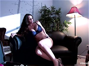 Alison unwraps off her lingerie to have fun with herself