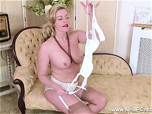 platinum-blonde milf takes off off retro undergarments romps fleshy cunt