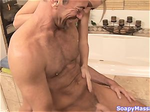 Shawna Lenee stroking off a firm man-meat