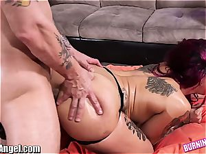 yam-sized culo goth babe lubed and booty-fucked