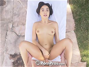 PORNPROS Backyard fumble and tug with mammary internal ejaculation