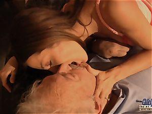 grandpa is boinked by uber-cute lady in News vs Romantic