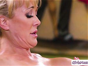 masseuse Jill Kassidy massage Brandi love body and licks her moist fuckbox