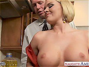 big-boobed wifey Krissy Lynn eating jizz in the kitchen
