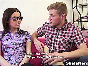 Big-headed college teenage gets cum on her glasses