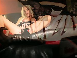 huge-chested Britney jerks and finishes off