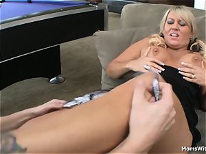 gigantic titty blonde mom romped Beside Pool Table