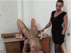 Kathia Nobili and C J made to do fake penis deep-throating