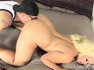 Lusty ash-blonde ultra-cutie Alura Jenson cootchie thrashed by the gardener