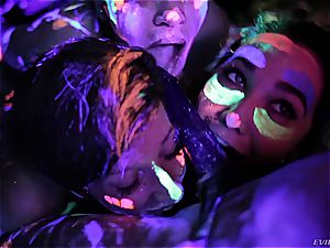steaming lesbians frolicking with fluorescent assets paint