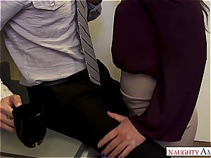 Salaciously curvy office female Karissa gives in the the cheesy pick up lines