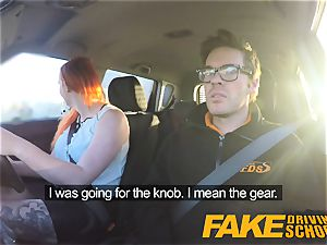 faux Driving school spectacular redhead lusts after huge spear