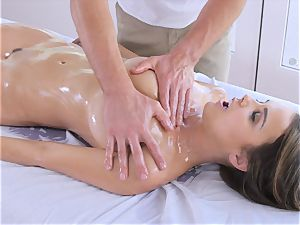 greased up dark-haired Dillion Harper kneaded and romped with gigantic spunk-pump