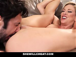 SheWillCheat cuckold wife Gags on pipe