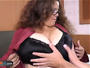 AgedLove obese brunette mischievous stud and sofa excellent