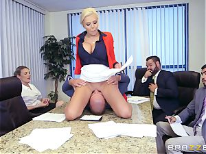 rigorous chesty chief Nina Elle exploits its workers during a meeting