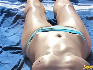 sizzling bare-chested milfs large hooters - first-timer voyeur Beach video