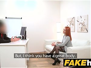 faux Agent red-haired prefers rigid hard-on over wet cunt