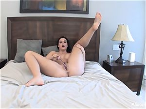 Alison Tyler wanks with a glass fake penis for you