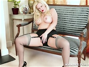 bootylicious ash-blonde milks in grey nylons and high stilettos