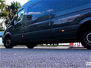 donks BUS - sizzling van orgy with super hot German platinum-blonde
