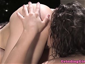 Abella Danger grinds outdoors with Mila Blaze