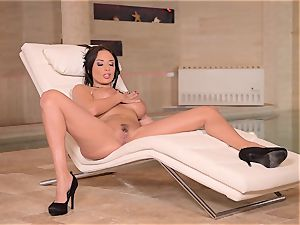 buxom French cougar thumbs Her humid vulva