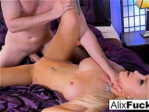 Alix Lynx drains Brad's boner with her slit and gullet