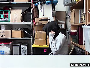 enormous boobed hijab teenager gets a facial in the shop backoffice